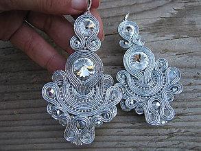 Náušnice - Silver...soutache (Crystal 2) - 8432904_