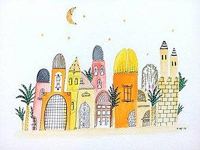 Obrazy - Mesto 13 ilustrácia obraz / originál maľba - 8431078_