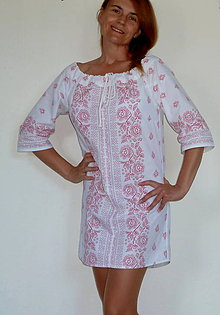 Šaty - Košeľošaty Bordúra Folk biele - 8433177_