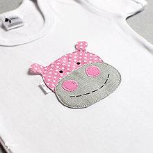 Detské oblečenie - body RUŽOVÝ HROŠÍK bodka (dlhý/krátky rukáv) - 8433039_
