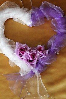 Dekorácie - ***VÝPREDAJ*** Svadobné srdce na dvere fialové - 8432338_