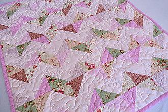 Textil - Detská patchworková deka Nr.506 ružová - 8433687_