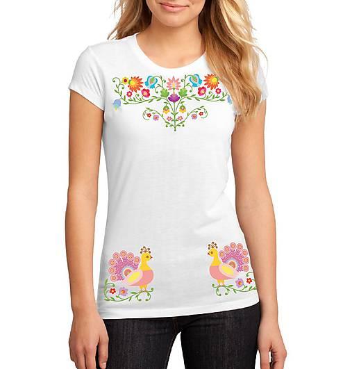 Tričko dámske farebné folk kvety a pávy