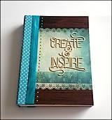 Papiernictvo - Ručne šitý diár/zápisník ,,Create and inspire