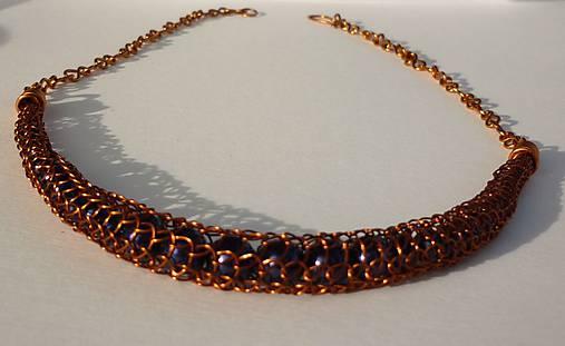 Medený náhrdelník s náušnicami