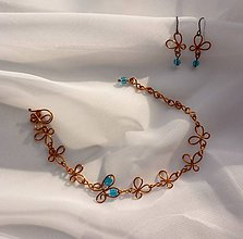 Sady šperkov - Motýlikový náramok s náušnicami v modrom - 8433139_