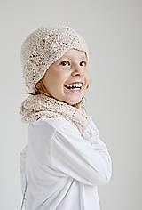 Detské čiapky - Pletená detská čiapka - púdrová - 8432416_