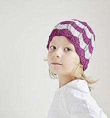 Detské čiapky - Pletená detská čiapka - cyklámenová - 8431591_