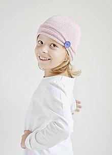 Detské čiapky - Pletená detská čiapka - ružová - 8431606_