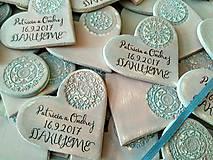 Darčeky pre svadobčanov - svadobné magnetky so vzorom - 8431774_