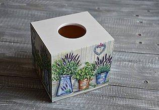 """Krabičky - box na vreckovky """"Levanduľa v plecháčikoch"""" - 8432818_"""
