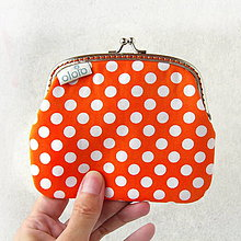 Peňaženky - Peňaženka XL Oranžová s bodkami - 8433383_