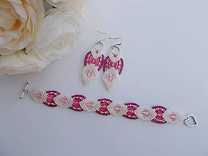 Sady šperkov - Bielo-ružová romantická sada svadobných šperkov - 8432949_