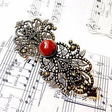 Ozdoby do vlasov - Vintage Filigree Red Flame Jasper French Hair Clip / Vintage francúzska spona s červeným jaspisom /0500 - 8434786_