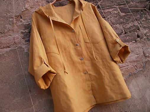Košele - Lněná košile s kapucí - 8436068_
