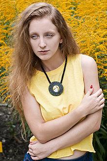 Náhrdelníky - Regentag Col. -Yellow circles- vyšívaný náhrdelník - 8436509_