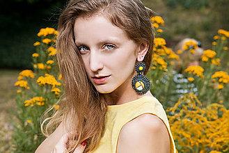 Náušnice - Regentag Col. -Yellow circles- vyšívané náušnice - 8436538_