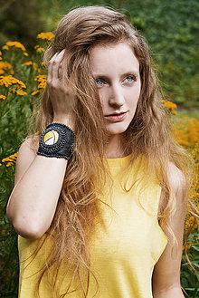 Náramky - Regentag Col. -Yellow circles- vyšívaný náramek - 8436615_