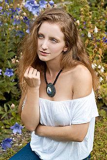Náhrdelníky - Regentag Col. - Blue Drop - vyšívaný náhrdelník - 8436846_