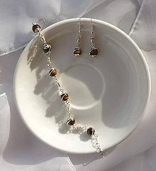 Sady šperkov - Tigrie oko - náušnice s náramkom - 8435102_
