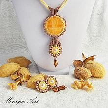 Sady šperkov - Hnedá sada s kalcitom a perlami - 8434827_