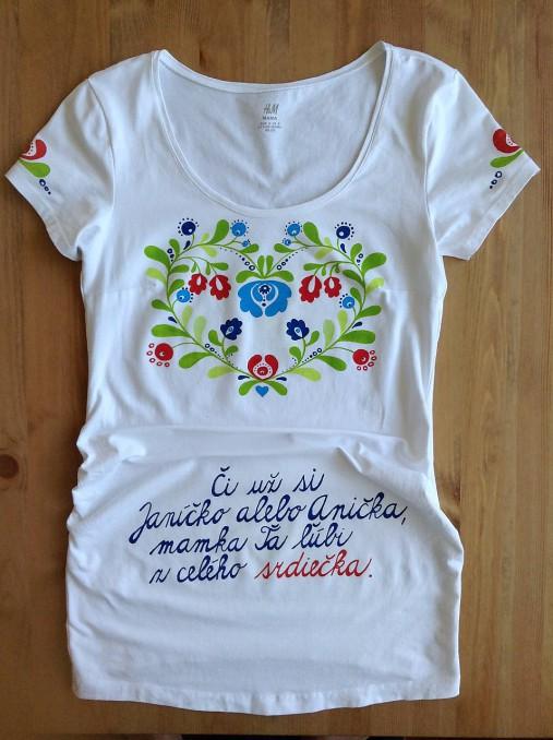 c6924904fa21 Folkové dámske maľované tričko (Tehotenské)   mon-art - SAShE.sk ...