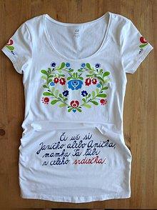 Tričká - Folkové dámske maľované tričko (Tehotenské) - 8434660_