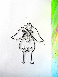 Dekorácie - anjel s krištáľom* 18 cm - 8433834_