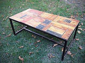 Nábytok - Konferenčný stolík rustikálno- industry - 8439402_