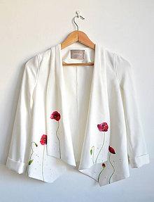 Kabáty - Vlčie maky / ručne maľované sako - 8438517_