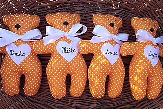 Darčeky pre svadobčanov - Mackovia v oranžovom šate - 8437878_