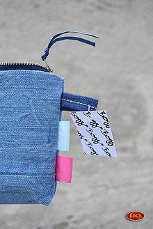 Peňaženky - podélná středněmodrá recy riflová peněženka - 8439823_