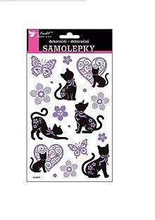 Papier - Samolepky Mačky čierno-fialové s kamienkami - 8437143_