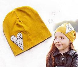 Detské čiapky - Horčicová čiapka sdrce - 8437433_