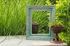 Rámiky - Tyrkysový rám s ornamentom - 8439752_