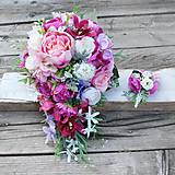 ZĽAVA 10€+pierko zdarma!  Previslá svadobná kytica s pivonkami a orchideami