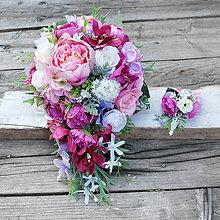 Kytice pre nevestu - ZĽAVA 10€!  Previslá svadobná kytica s pivonkami a orchideami - 8441423_