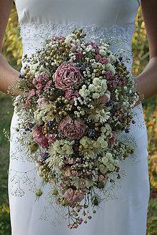 Kytice pre nevestu - Svadobná kytica zo sušených kvetov - 8440252_
