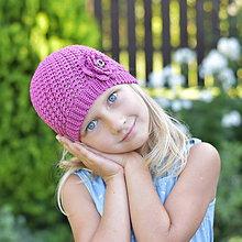 Detské čiapky - Tmavoružová čiapočka - 8443042_