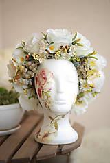 Ozdoby do vlasov - Folk kvetinová parta na štýl venčeka so strapcami hrozna - 8442985_