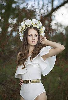 Ozdoby do vlasov - Folk kvetinová parta na štýl venčeka so strapcami hrozna - 8442996_