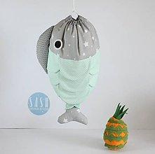Detské tašky - VRECÚŠKO na hračky, (mentolovo-šedé) - 8442957_