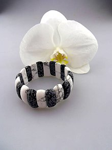 Náramky - magnezit obsidián náramok luxusný - 8441430_