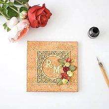Papiernictvo - Broskyňovo - zelená kniha hostí na svadbu s vintage rámikom, kvetinami a iniciálami snúbencov - 8440372_