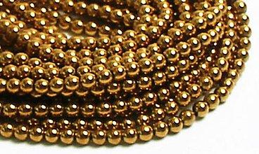 Korálky - Hematitové korálky zlaté 4mm - 8441458_