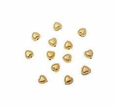 Korálky - Plastové korálky srdiečka zlaté (balíček 10ks) - 8441553_