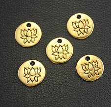 Komponenty - Prívesok lotus zlatý - 8441606_