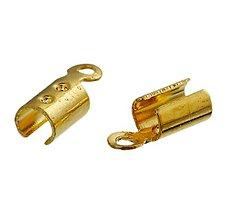 Komponenty - Koncovky zlaté s krúžkom 8x3mm (balíček 20ks) - 8441617_