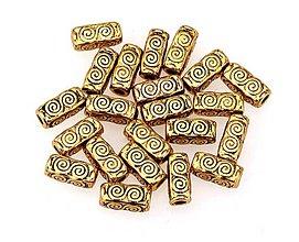 Korálky - Kovová korálka valček zlatý - 8441619_
