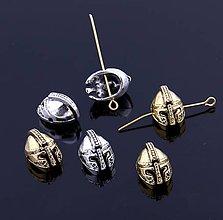 Korálky - Kovová korálka helma zlatá/strieborná - 8441648_